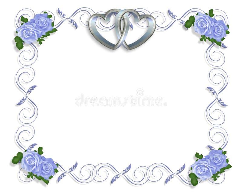 婚姻蓝色边界邀请的玫瑰 库存例证
