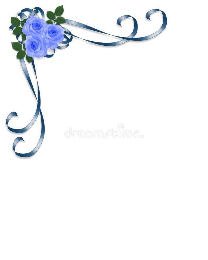 婚姻蓝色邀请的玫瑰 库存例证