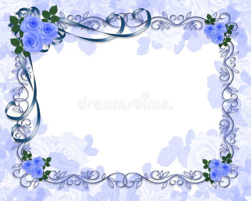 婚姻蓝色邀请的玫瑰 向量例证