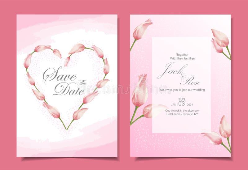 婚姻请帖模板设计的现代郁金香 与美丽的手拉的水彩花的粉色题材 皇族释放例证