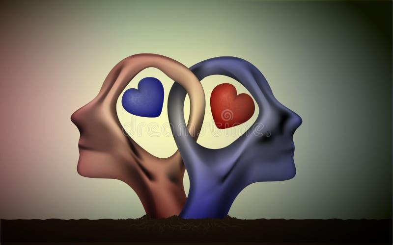 婚姻象,人们在爱、蓝色人和红色妇女头朝向在爱,超现实主义的浪漫梦想,一起永远, 皇族释放例证