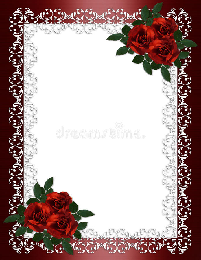 婚姻边界邀请红色的玫瑰 库存例证