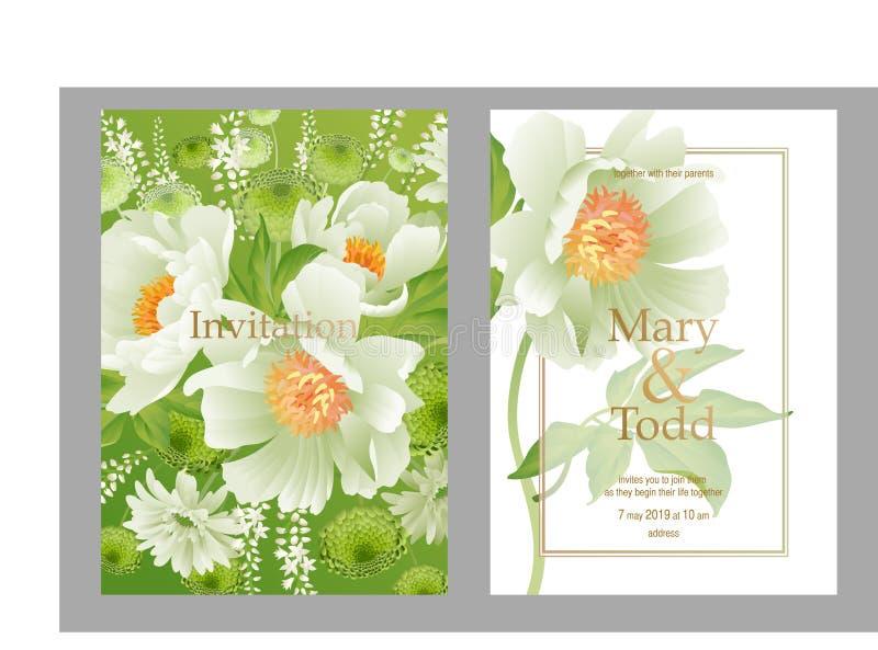 婚姻邀请的设置卡片 花卉传染媒介例证 库存例证