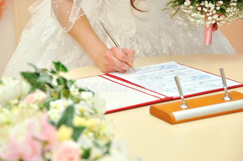 婚姻 美丽的礼服的新娘 免版税库存图片