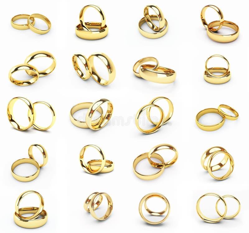 婚姻20金子查出的环形 库存例证