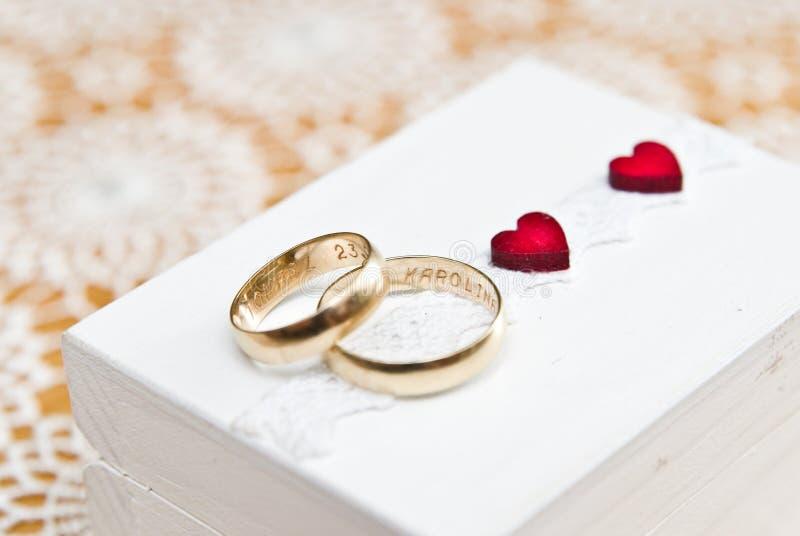 婚戒和波兰人的红色心脏与夫妇结婚 库存图片
