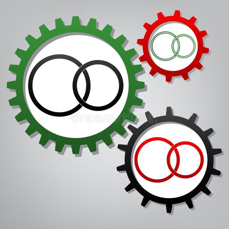 婚戒标志 向量 有象的三个被连接的齿轮在 库存例证