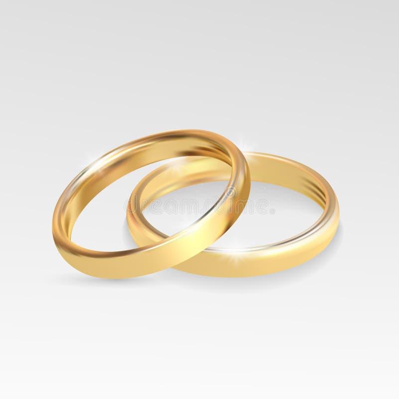 婚戒设置了在灰色背景的金金属 库存例证