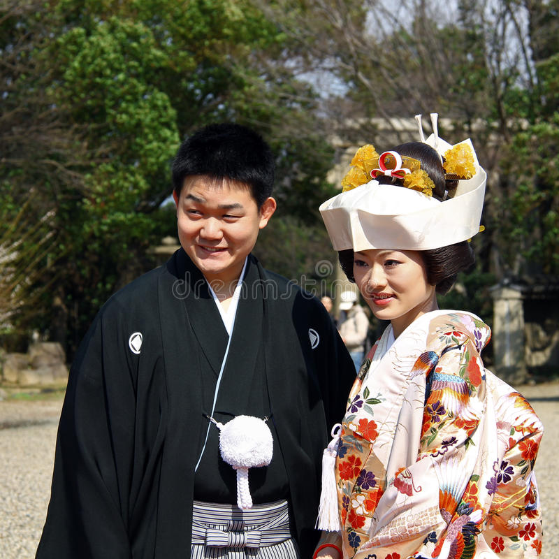 结婚的日本夫妇 免版税图库摄影