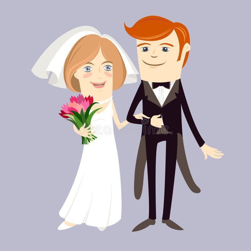 结婚的行家滑稽的夫妇 平的样式 皇族释放例证