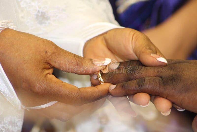 婚礼、手和圆环 库存图片