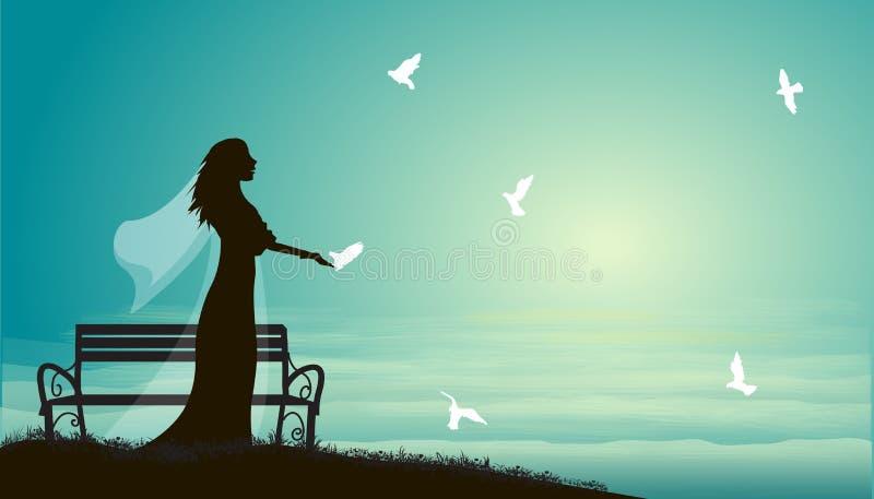 婚礼、新娘和鸽子在长凳附近在海、新娘和太阳上升或者日落, 库存例证