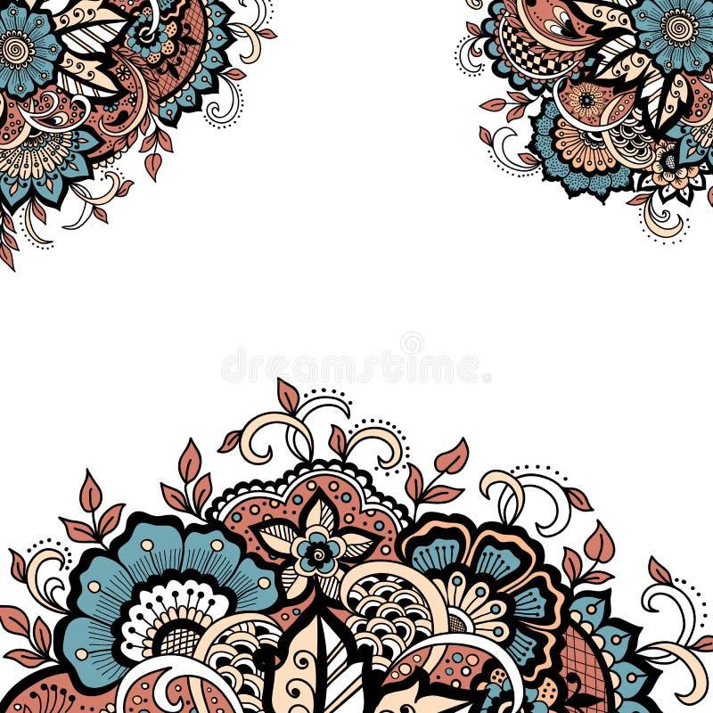 婚礼与传染媒介摘要花卉元素的邀请卡片在印地安mehndi样式 库存例证