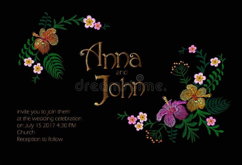 婚礼与密林夏威夷花的邀请设计 保存与热带异乎寻常的棕榈叶的日期卡片 木槿 向量例证