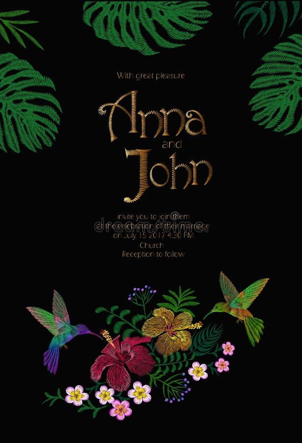 婚礼与密林夏威夷花的邀请设计 保存与热带异乎寻常的棕榈Monstera叶子的日期卡片 库存例证