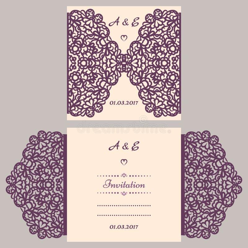 婚礼与抽象装饰品的邀请或贺卡 传染媒介激光切口的信封模板 纸裁减卡片 向量例证