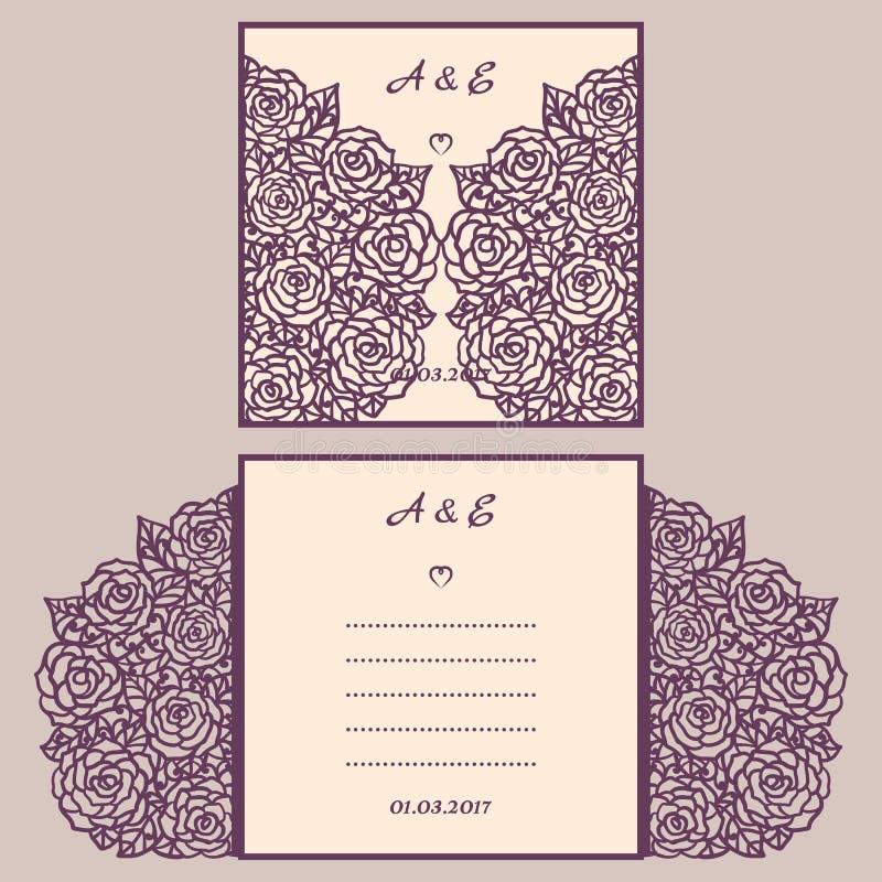 婚礼与抽象装饰品的邀请或贺卡 传染媒介激光切口的信封模板 纸裁减卡片 皇族释放例证
