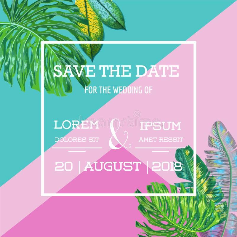 婚礼与棕榈叶的邀请模板 热带救球日期卡片 海报的夏天植物的设计,问候 库存例证