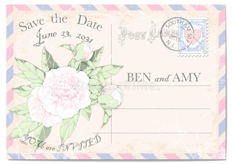 婚礼与的邀请明信片牡丹、五颜六色的框架、邮费邮票、邮票、抓痕和污点 也corel凹道例证向量 皇族释放例证