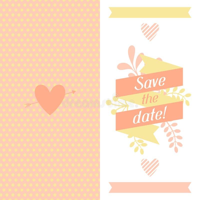 婚礼与相当风格化的邀请卡片 向量例证