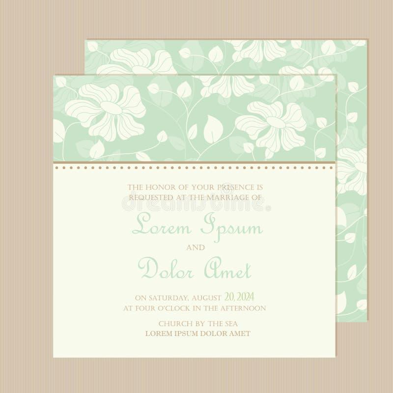 婚礼与美丽的手拉的花的邀请或公告卡片 库存例证