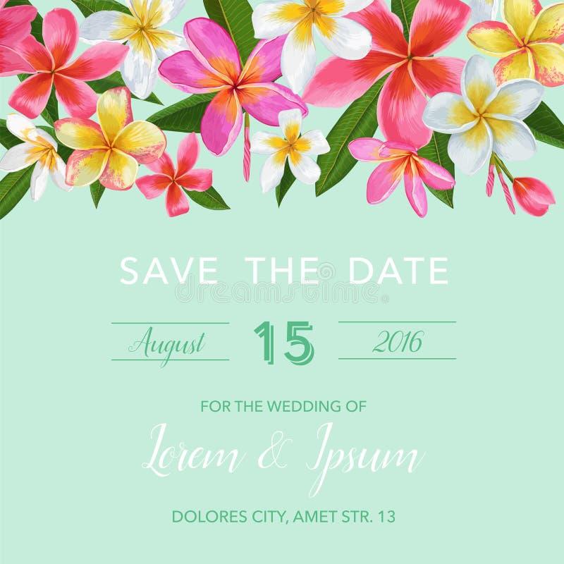 婚礼与羽毛花的邀请模板 热带花卉救球日期卡片 异乎寻常的花浪漫设计 皇族释放例证