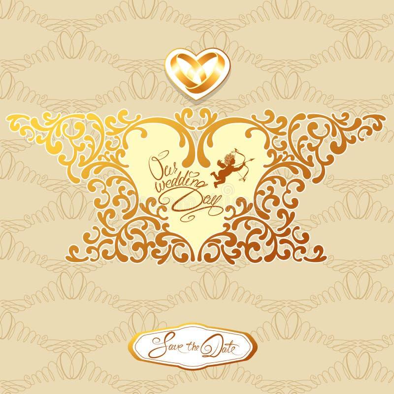 婚礼与花卉元素的邀请卡片,在心脏sha的框架 向量例证