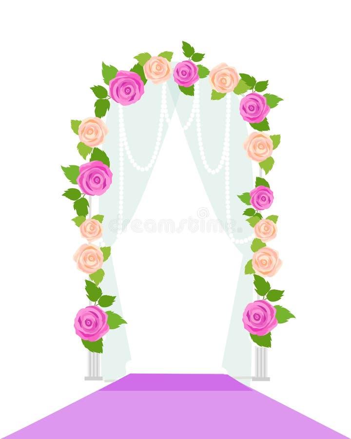 婚礼与花的弧门 浪漫元素 皇族释放例证