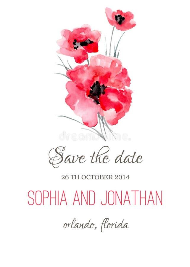 婚礼与花的邀请水彩 库存例证