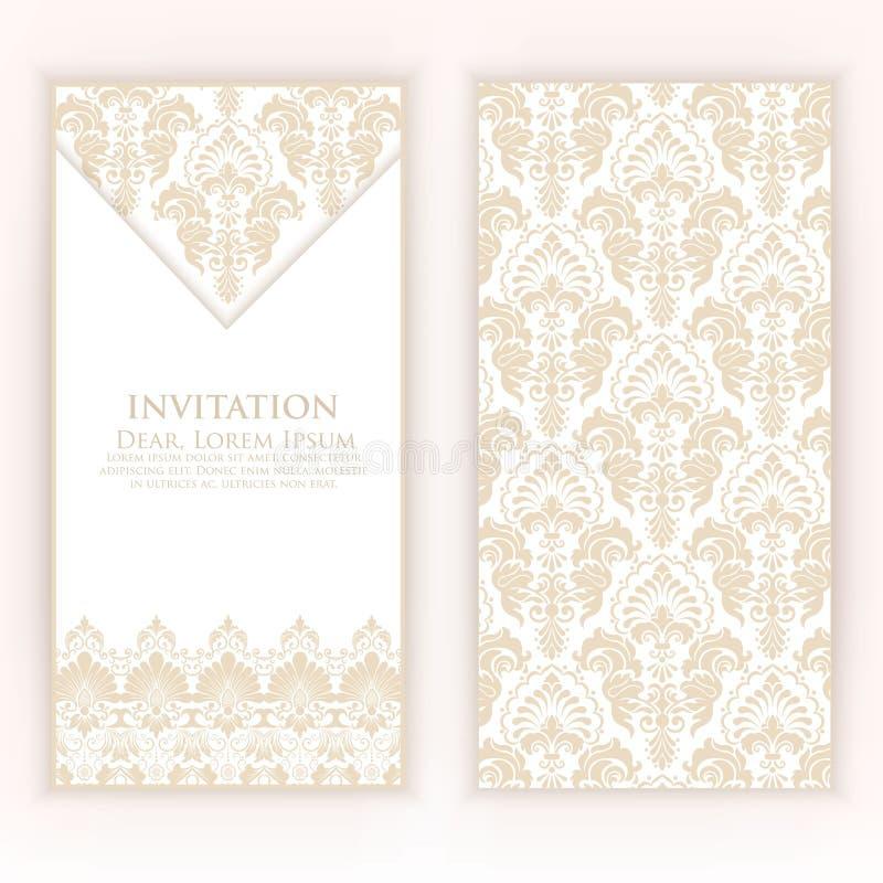 婚礼与葡萄酒背景艺术品的邀请和公告卡片 典雅的华丽锦缎背景 皇族释放例证