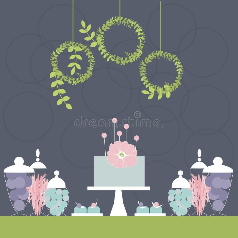婚礼与蛋糕的棒棒糖 点心桌 向量例证
