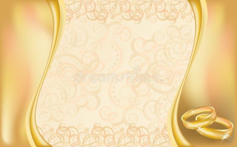 婚礼与金黄圆环和弗洛尔的邀请卡片 向量例证