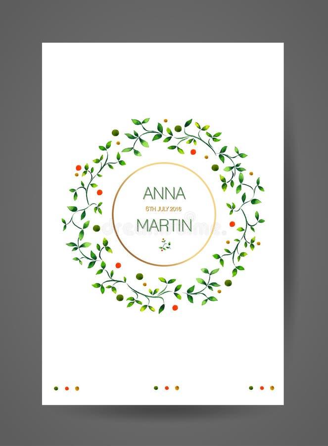 婚礼与水彩花卉分支的邀请卡片 库存例证