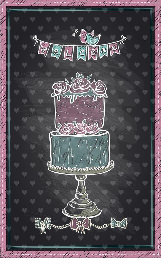 婚礼之日、婴儿送礼会或者甜党的黑板手拉的邀请标志 库存例证