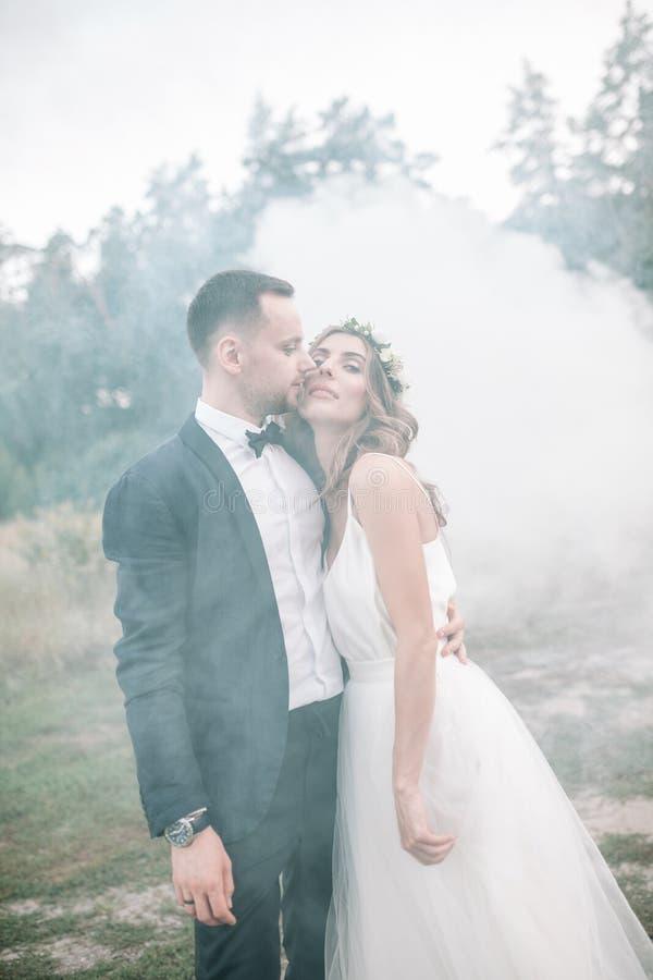 婚礼之日走户外在夏天自然的新娘和新郎 新娘夫妇、愉快的新婚佳偶拥抱以绿色的妇女和人 免版税图库摄影