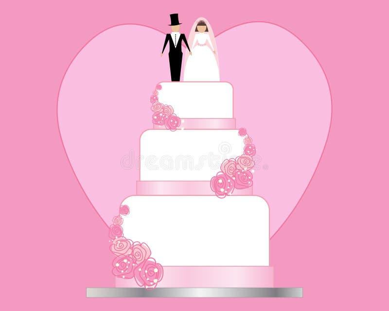 婚礼之日邀请有一块桃红色心脏背景和白色婚宴喜饼与新娘和新郎装饰 向量例证