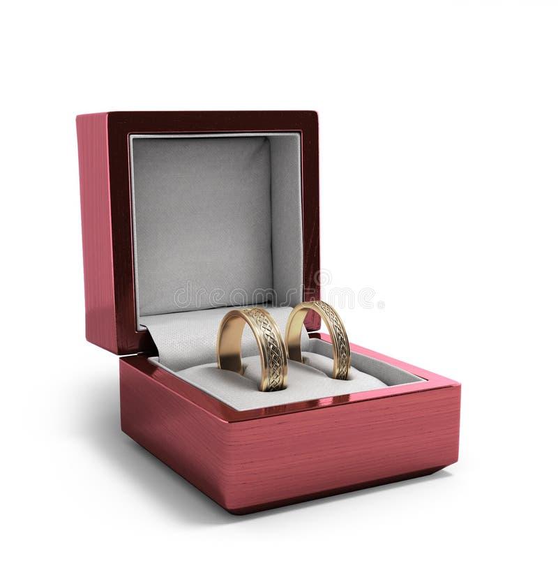 婚礼乐队,在红色箱子的婚戒,婚礼首饰,我们 向量例证