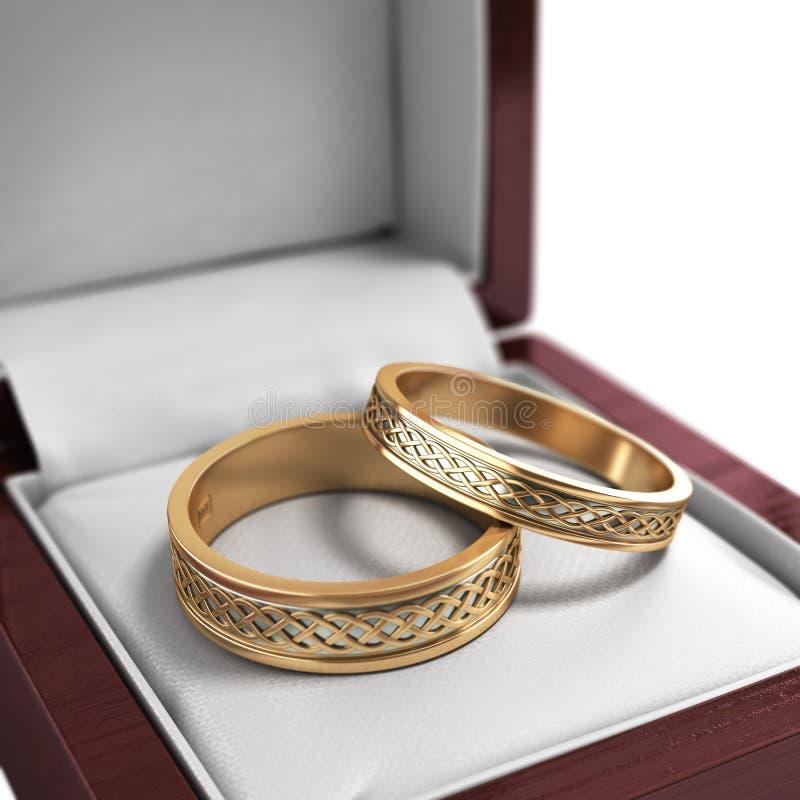婚礼乐队,在红色箱子的婚戒,婚礼首饰 库存例证