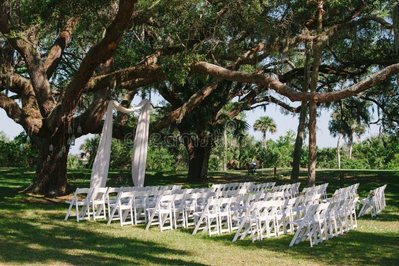 婚礼修改椅子在橡树下 库存图片