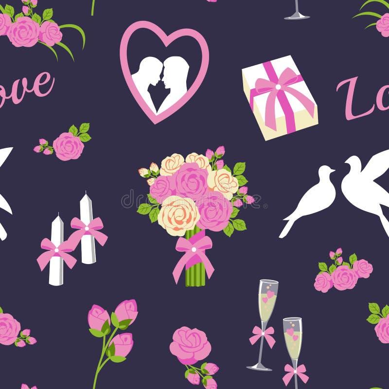 婚礼和情人节无缝的样式导航例证 库存例证