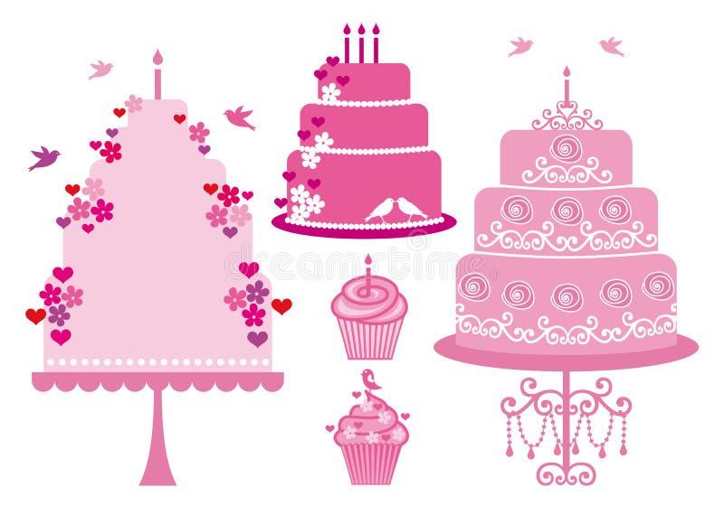 婚礼和生日蛋糕,向量 向量例证