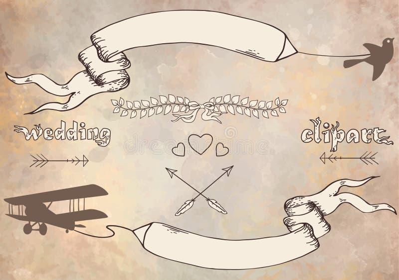 婚礼图表集合 库存例证