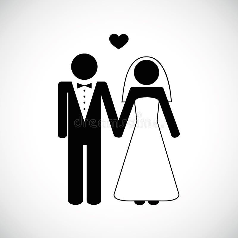 婚礼在白色背景的夫妇图表 向量例证