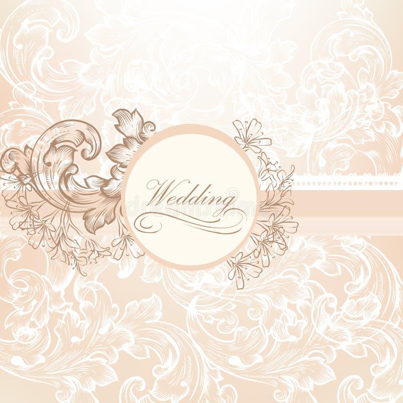 婚礼在葡萄酒样式的传染媒介设计 皇族释放例证
