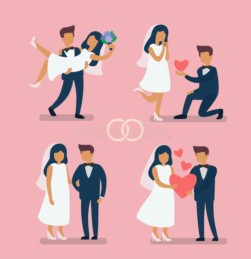 婚礼夫妇新娘 向量例证