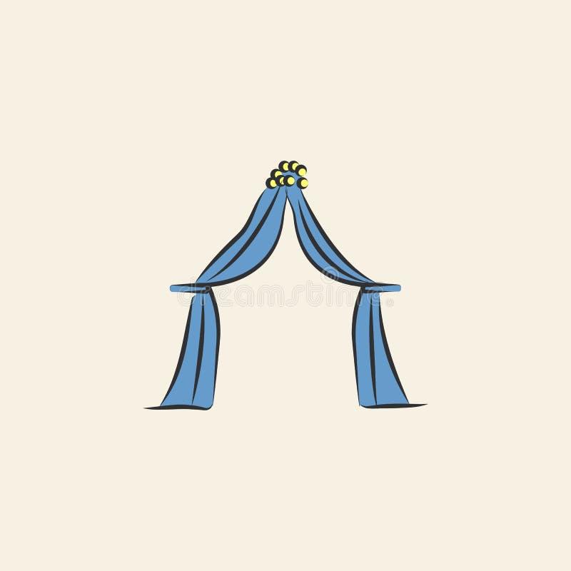 婚礼帷幕剪影例证 色的婚姻的象的元素流动概念和网apps的 剪影样式婚礼curtai 库存例证