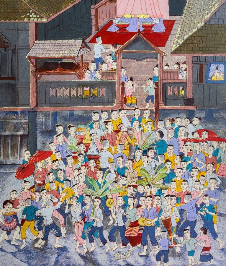 婚礼当地泰国绘画  皇族释放例证