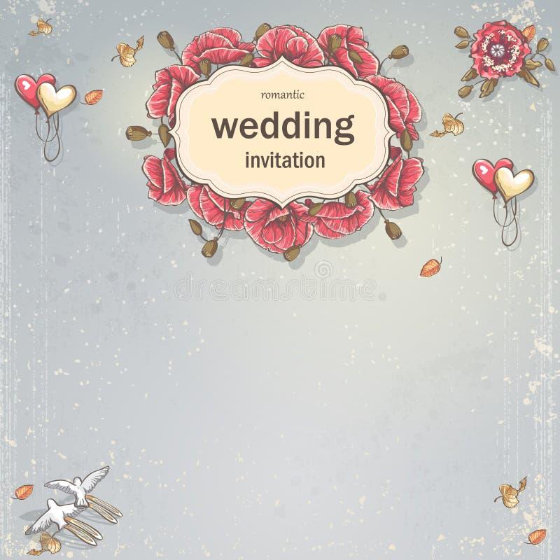 婚礼您的文本的邀请卡片在与鸦片、气球、鸠和秋叶的灰色背景 向量例证