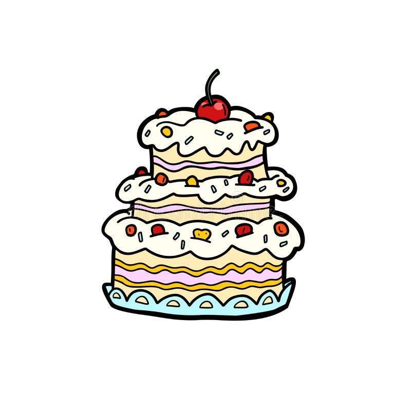 婚礼或周年奶油蛋糕用樱桃,生日 向量例证