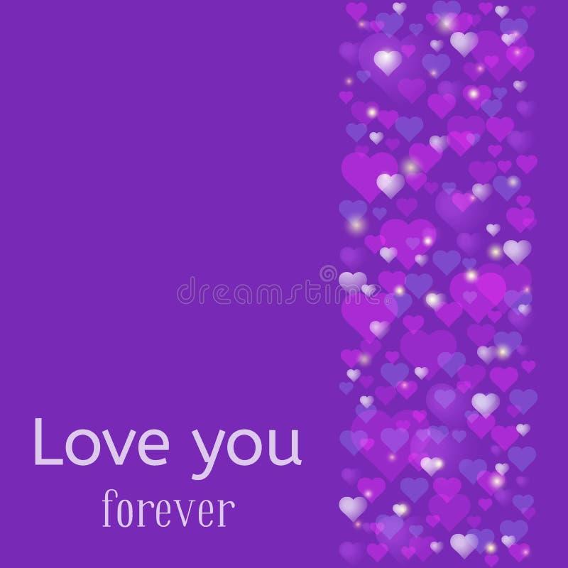 婚礼或情人节贺卡 永远爱您题字 很多桃红色和紫心勋章驱散了在时髦ult 向量例证